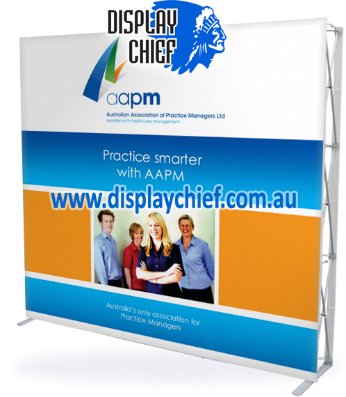 AAPM. Choose Display Chief for pop up display and fabric printing