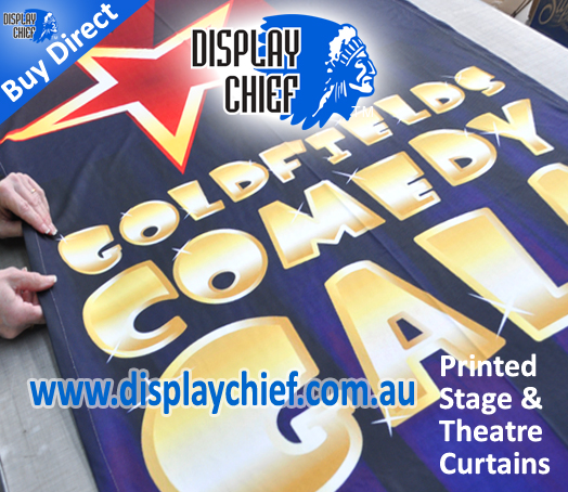 Printed stage curtains for theatre comedy and stage show gala